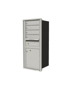 "Single column unit with 4-tenant doors and 1-15""H parcel locker"
